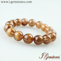 Copper Rutilated Quartz Round Beads Bracelet