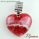 Heart Shaped Rhodochrosite Pendant