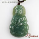 Green Jade Pendant Carved With Goddess Of Mercy 'Quanyin'