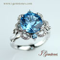 Blue Topaz Ring (925 Sterling Silver)