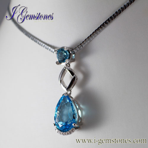 Blue Topaz Pendant (925 Sterling Silver) - Click Image to Close