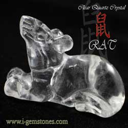 Clear Quartz Rat Figurine